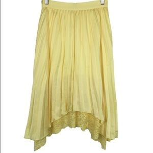 NWT Calvin Luo Pleated Asymmetric Hem Midi Skirt